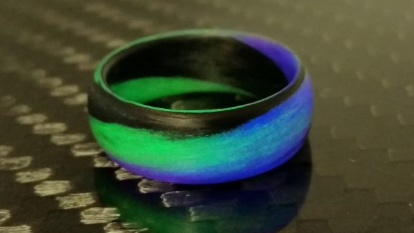 Carbon Fiber Green/Purple/Black Marbled Glow Ring