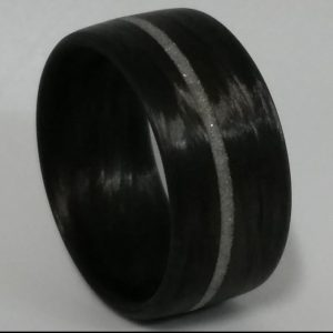 Carbon Fiber Flat Band Diamond Inlay