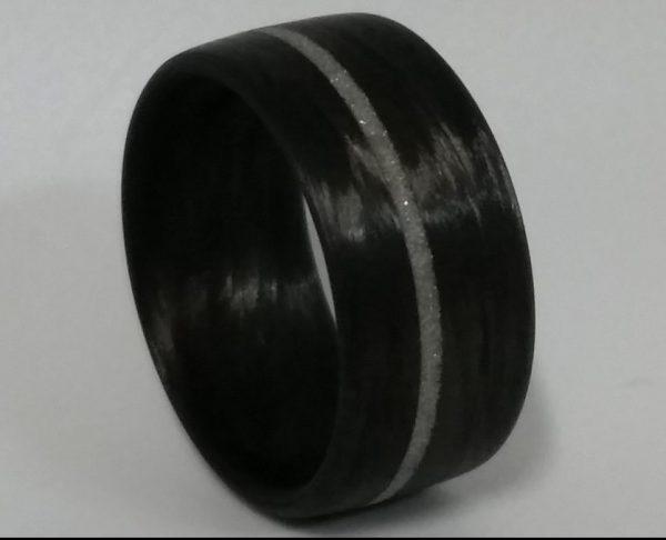 Carbon Fiber Flat Band Diamond Inlay