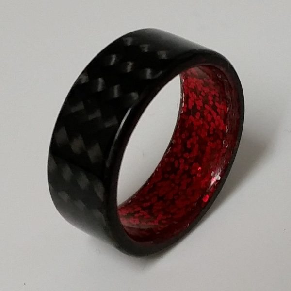 Carbon Fiber Twill Ring with Red Sparkle Interior