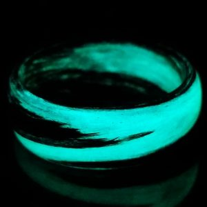Carbon Fiber Black and Teal Marbled Glow Ring