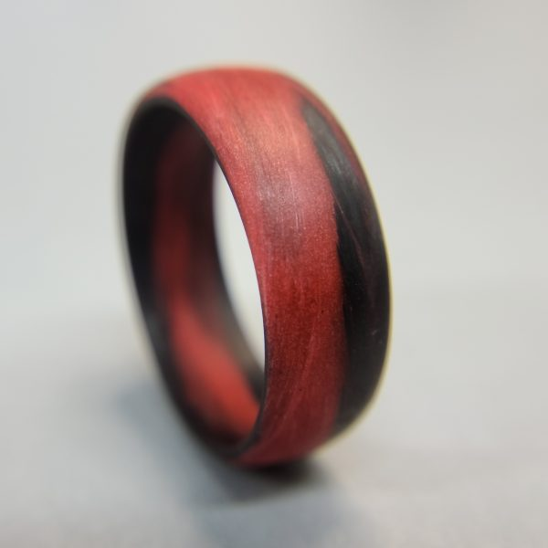 Carbon Fiber Red and Black Marbled Glow Ring