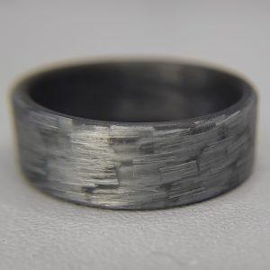 Texalium Silver Ring with Black Carbon Interior