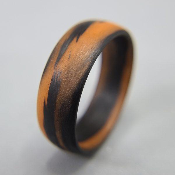 Carbon Fiber Orange and Black Marbled Glow Ring