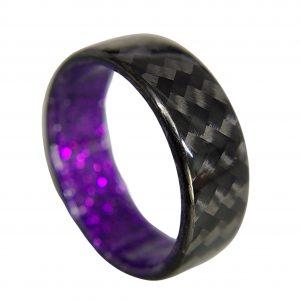 Carbon Fiber Twill Ring with Purple Sparkle Interior