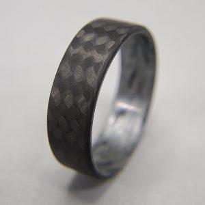 Carbon Fiber Twill Ring with Texalium Silver Interior