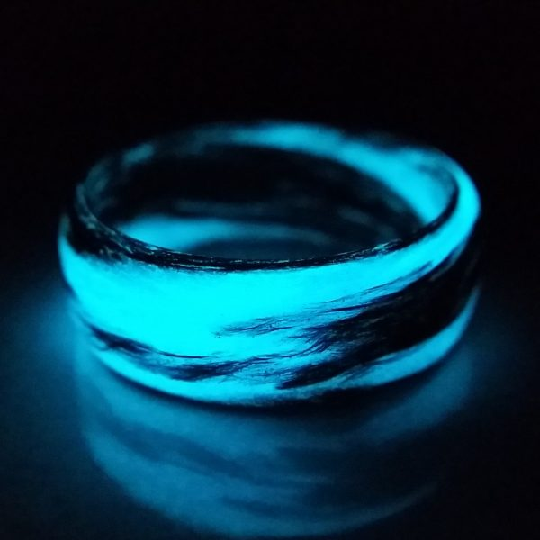 Carbon Fiber Black and Blue Marbled Glow Ring