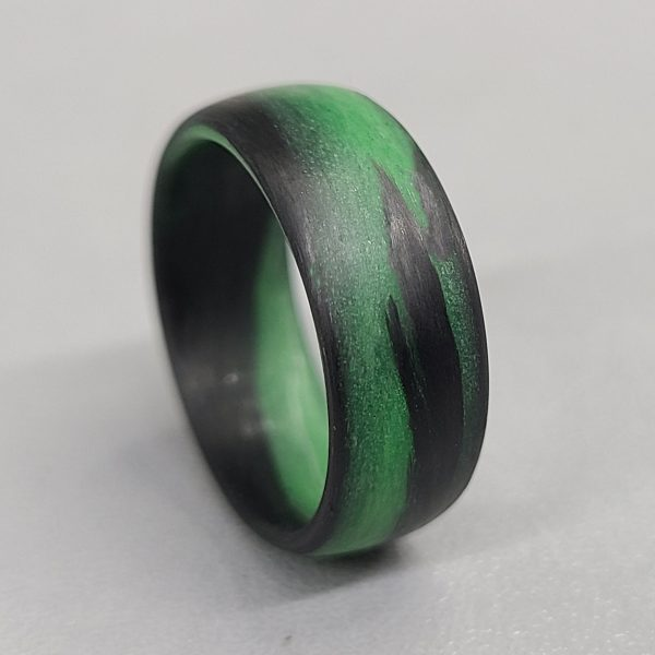 Carbon Fiber Green and Black Marbled Glow Ring