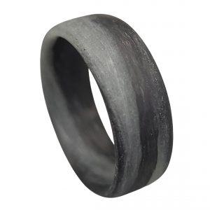 Carbon Fiber Grey Aqua Marbled Glow Ring