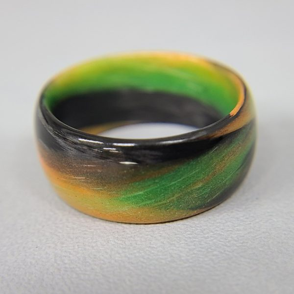 Carbon Fiber Green/Orange/Black Marbled Glow Ring
