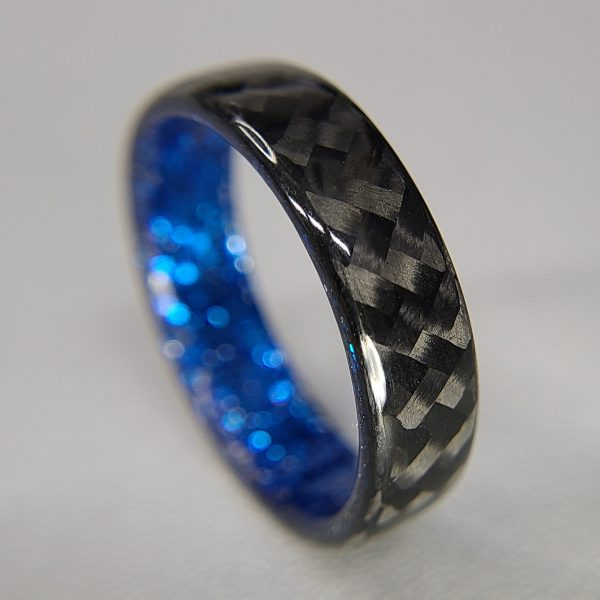 Carbon Fiber Twill Ring with Blue Sparkle Interior