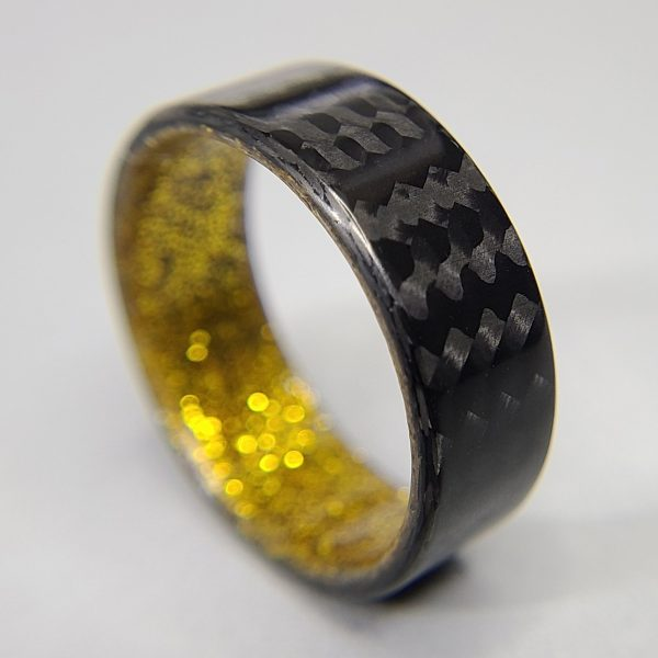 Carbon Fiber Twill Ring with Gold Sparkle Interior