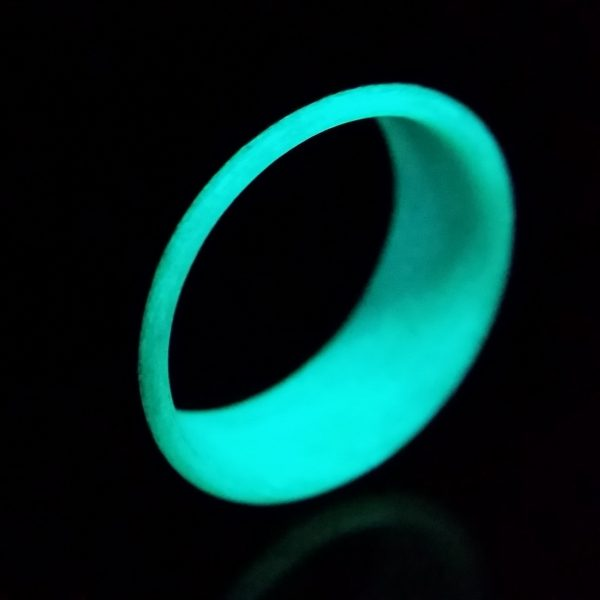 Carbon Fiber Ring with Teal Glowing Interior