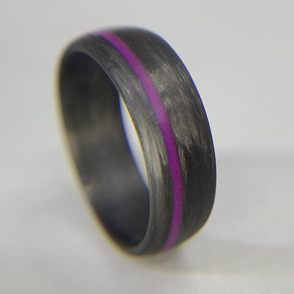 Legacy Carbon Ring with Purple Glow Line