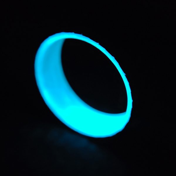 Carbon Fiber Twill Ring with Blue Glowing Interior