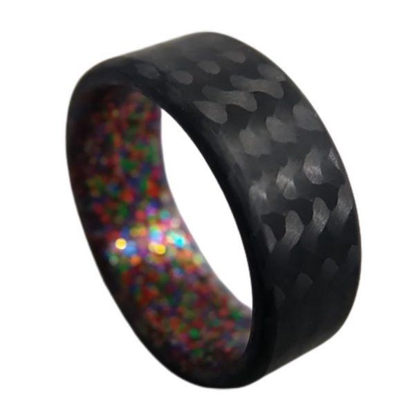 Carbon Fiber Twill Ring with Multi Sparkle Interior