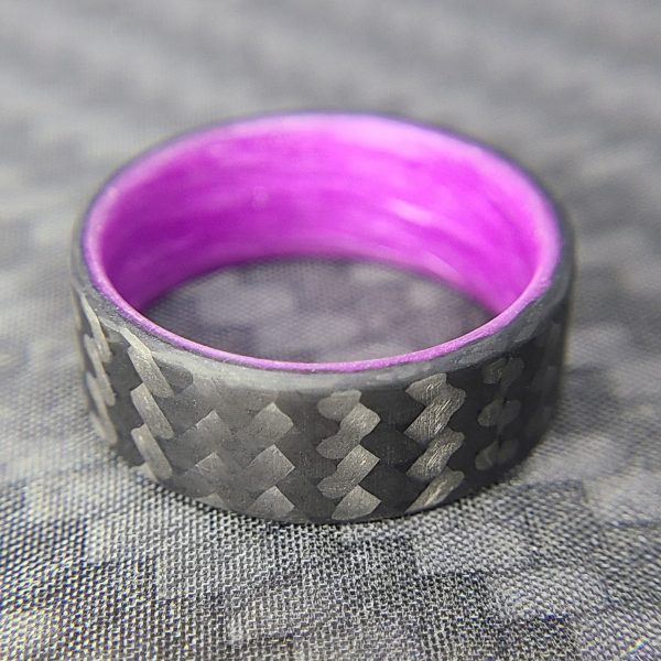 Carbon Fiber Twill Ring with Purple Glowing Interior