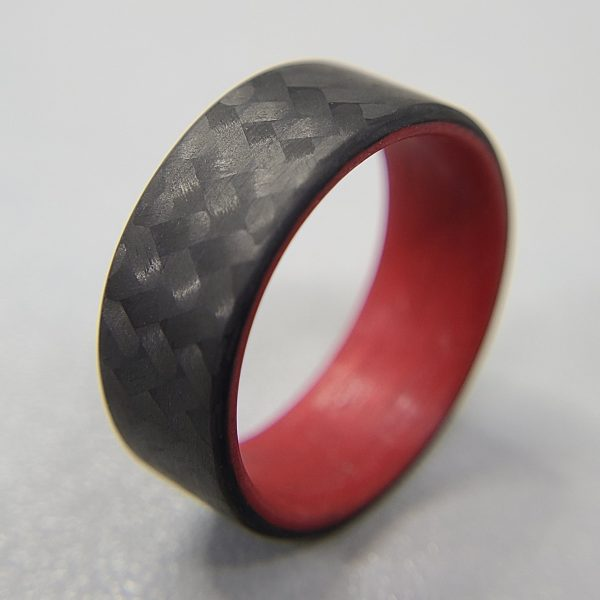 Carbon Fiber Twill Ring with Red Interior