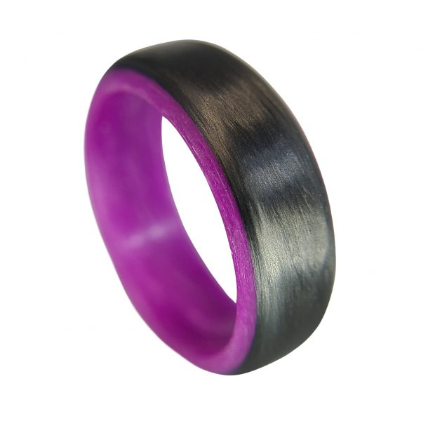Carbon Fiber Ring with Purple Glowing Interior