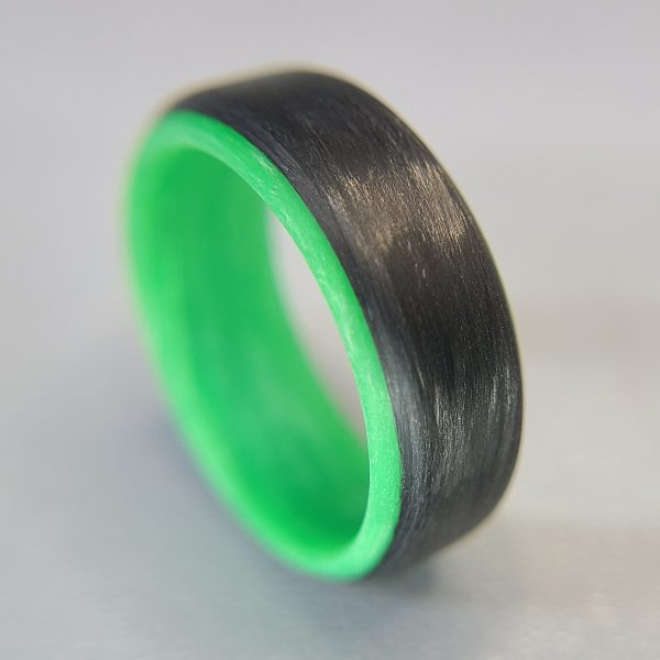 Carbon Fiber Ring with Green Glowing Interior