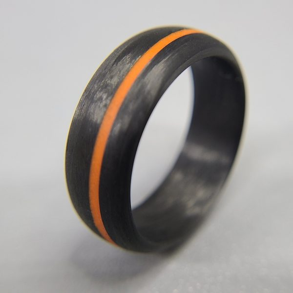 Legacy Carbon Ring with Orange Glow Line