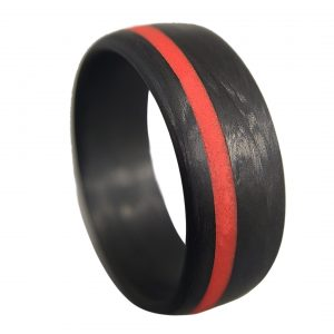 Legacy Carbon Ring with Red Glow Line