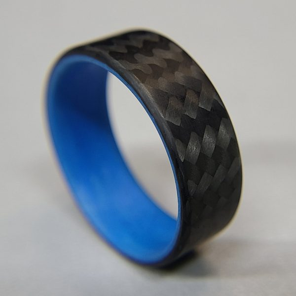 Carbon Fiber Twill Ring with Blue Interior