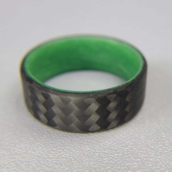 Carbon Fiber Twill Ring with Green Glowing Interior