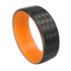 Carbon Fiber Twill Ring with Orange Glowing Interior