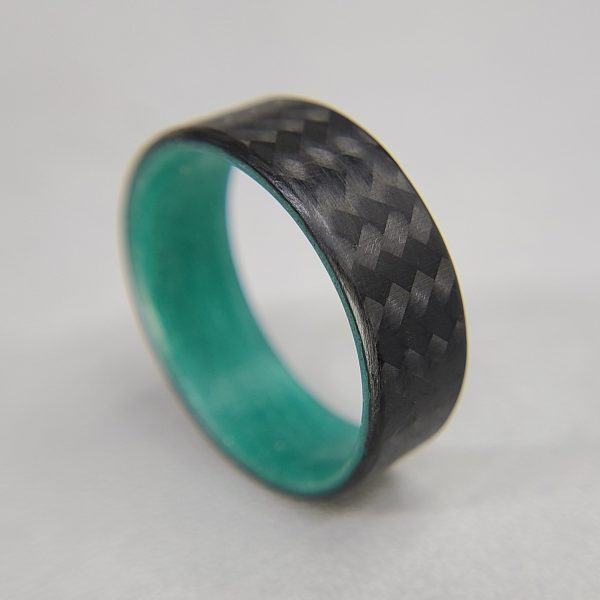 Carbon Fiber Twill Ring with Teal Glowing Interior