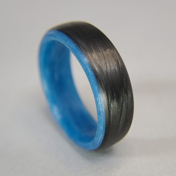 Carbon Fiber Ring with Blue Glowing Interior