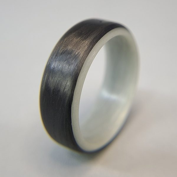Carbon Fiber Ring with Grey/Purple Glowing Interior
