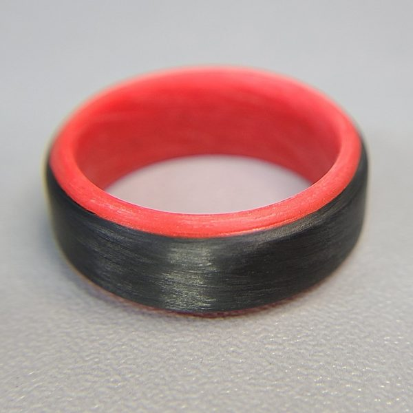 Carbon Fiber Ring with Red Glowing Interior