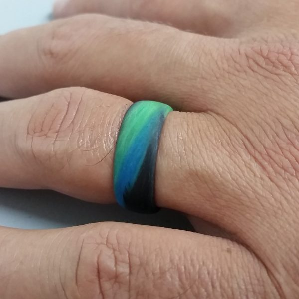 Carbon Fiber Green/Blue/Black Marbled Glow Ring