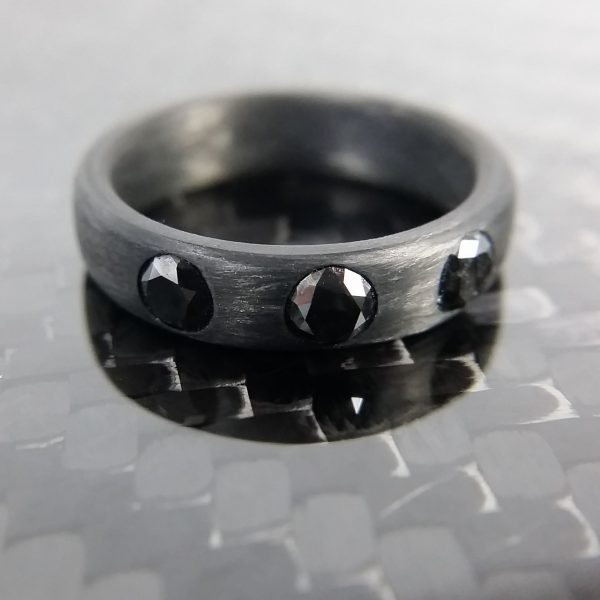 Carbon Fiber Ring with 3-4mm Black Diamonds