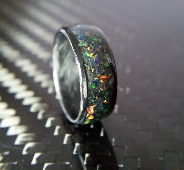 Carbon Fiber Fire Opal Ring