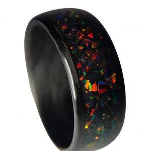 Carbon Fiber Fire Opal Ring