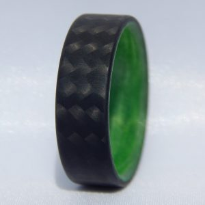 Carbon Fiber Twill Ring with Green Interior