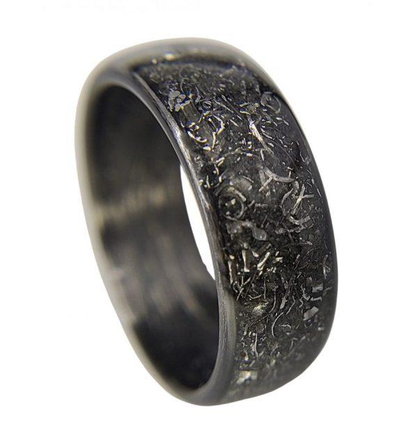 Carbon meteorite ring