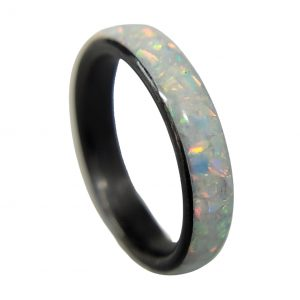Carbon Fiber Ring with Pearl White opal inlay